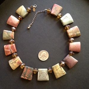 Jasper Stone & Crystal Necklace
